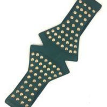 Star Studded Elastic Belt in Hunter Green