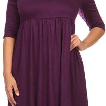 BNY Corner Women Plus Size Half Sleeve Solid Babydoll Casual Tunic Top Dress