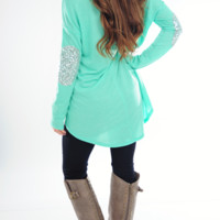 RESTOCK: Make Me Sparkle Top: Mint | Hope's