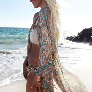 2017 Summer Blouse Bathing Suit Cover Ups Tunic Beach Kimono Fashion Pareo Robe Floral Printed Long Kaftan Sexy Hawaiian Robe