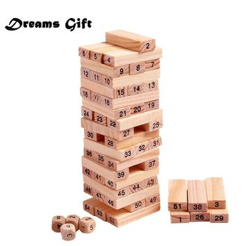 Wood Building Figure Blocks Domino 54pcs Stacker Extract Jenga Game Gift 4pcs Dice Kids Early Educational Wooden Toys Set MZ41
