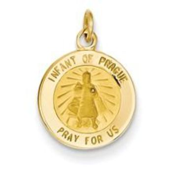 Infant of Prague Medal Charm in 14k Gold