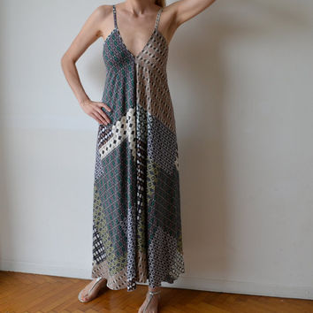 Maxi dress, boho, low back. Aubergine, teal, taupe. Party, cocktail, prom. One size fits many. OOAK.