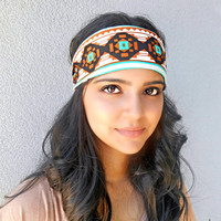 Green and Brown Tribal Print Headband Aztec Print Headwrap Hippie Headband Bohemian Hair Accessories