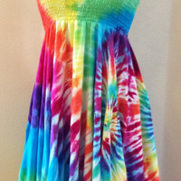 Rainbow Tie-dye Hankie Hem Summer Dress Skirt, Sizes S-XL