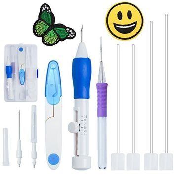 Magic Embroidery Pen Punch Needle - Sotica Magic Embroidery Pen Set,Embroidery Patterns Punch Needle Kit Knitting Sewing Tool for DIY Threaders Sewing