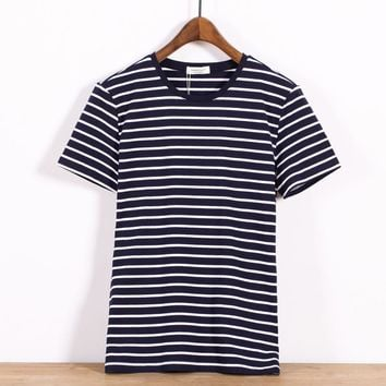 Vintage Men's Fashion Summer Short Sleeve Stripes T-shirts [10350416771]
