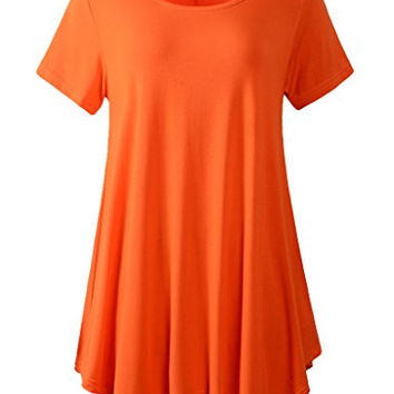 Lanmo Womens Swing Tunic Tops Loose Fit Comfy Flattering T Shirt (XL, Orange)