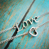 Love // Heart // Anklet Set // Layering // Silver // Ankle Bracelet