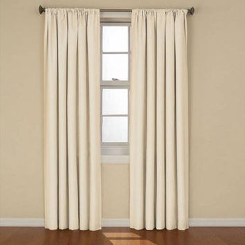 """Eclipse Curtains Kendall Blackout Energy-Efficient Curtain Panel 42""""X63"""" ivory"""