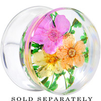 "5/8"" Clear Acrylic Green Multi Dried Spring Flowers Saddle Plug 
