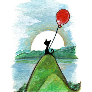Black Cat Print, Landscape Art, Red Balloon, 8x10 Picture, Childrens Decor, Nursery Room Art, Animal Illustration, Blue Sky, Green Hills