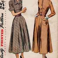 1940s Simplicity Sewing Pattern Dart Fitted Bodice Casual Dress Flared Skirt Cuffed Sleeves Pointed Collar Tea Dress Bust 32