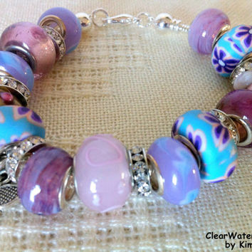 European Large Bead Charm Bracelet Butterfly Charm Lampwork Beads Polymer Clay Beads Purple Silver Foil Beads Porcelain Blue Pink