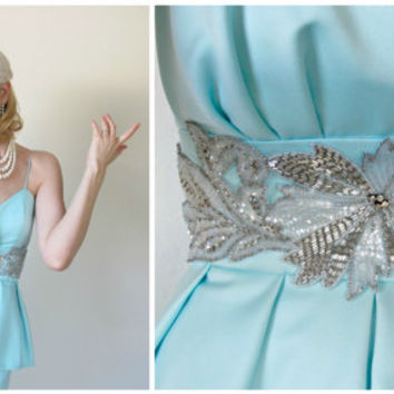 1950's Vintage Dress, PINUP, Aqua Blue, WEDDING, Bridesmaid, BOMBSHELL, Cocktail Dress