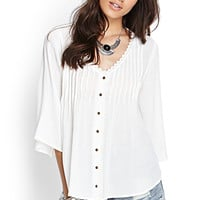 FOREVER 21 Pleated Crochet Peasant Top Cream Large