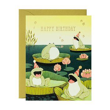 Singing Frogs Birthday Card