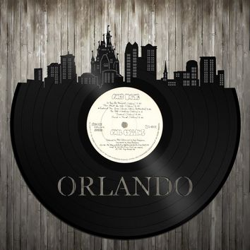 Skyline Wall Art - Orlando Skyline,Orlando Cityscape,Vinyl Record Art, Vinyl Record, Home Decor,Bachelor gift,Orlando Wedding,Orlando record
