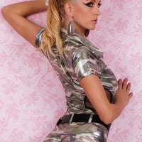 Camouflage Short Sleeve Zipper and Cut-Out Mesh Pilot Costume