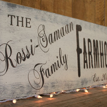 Farmhouse Sign Name Sign Custom Sign Vintage Wood Shabby Chic Farmhouse Chic Rustic Wedding Gift Bridal Shower Gift Housewarming Anniversary