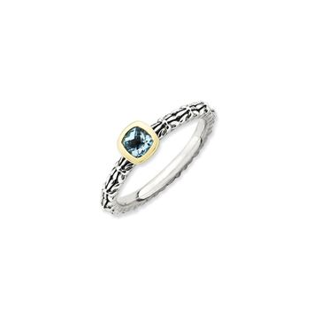 Stackable Sterling Silver & 14K Gold Plated Blue Topaz Ring