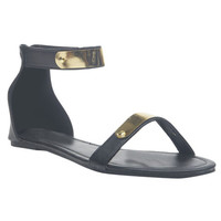 Gold Plate Strap Sandals | Wet Seal