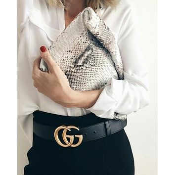 GUCCI Popular Woman Men Leisure Metal Smooth Buckle Leather Belt F