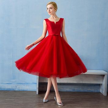 Suosikki 2016 Robe De Soiree New Red satin Sleeveless A-line Evening Dresses Bride Banquet Elegant Party Formal Prom Dress