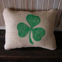 Burlap Shamrock PillowSt Pat's Day by FannyElizabethDesign on Etsy