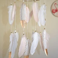 Baby Mobile, Dream Catcher Feathers Mobile, Baby Girl Nursery Mobile, Blush Pink White Gold Feathers Nursery Decor, Tribal Bohemian Nursery