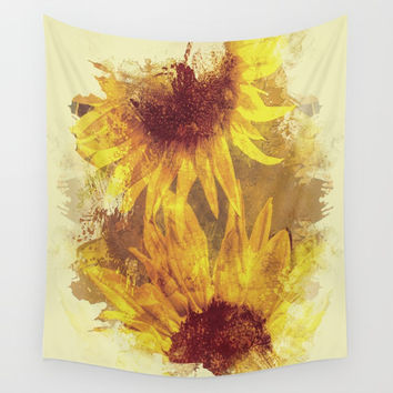 Peeping Sunflowers Wall Tapestry by Theresa Campbell D'August Art