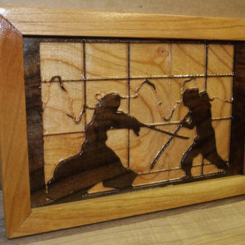 Samurai Carving Walnut and Cherry Wall Art Frame