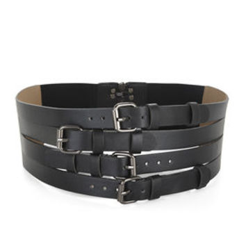 Black BCBG Multistrap-Buckle Waist Belt