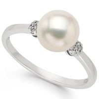 Fresh by Honora Sterling Silver Cultured Freshwater Pearl (7-1/2mm) and Diamond Accent Ring
