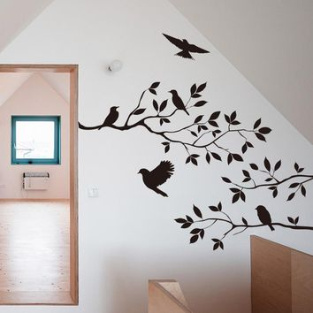 60*35cm Black Bird Tree Branch Monster Wall Paper Decals Removable vintage kitchen Wall Sticker Home decoration