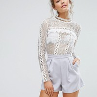 True Decadence Lace Romper With Lace Panels at asos.com