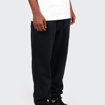 AW77 Cuffed Fleece Pants - black/white