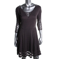 Free People Womens Textured Perforated Casual Dress