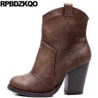 High Heel Cutout Round Toe Cut Out Autumn Vintage Cowgirl Shoes Fall 2017 Women Western Boots Cowboy Short Ankle Brown Chunky