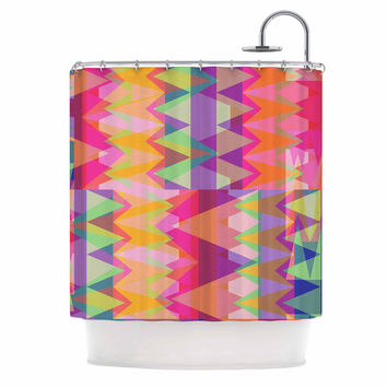 "Miranda Mol ""Triangle Fun"" Pink Multicolor Shower Curtain"