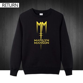 Classic Marilyn Manson Rock plus size printed Mens Sweat shirts Men 2016 Autumn winter Cotton Casual male pullover Hoodies