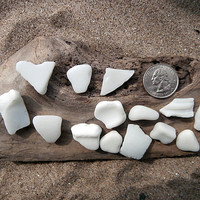 Milk Glass Lot-15 Pieces Craft Supplies Mosaics-Beach Glass-Lake Erie Surf Tumbled