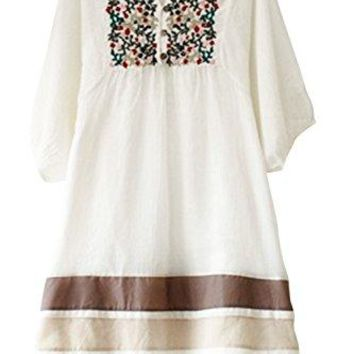 Asher Fashion Womens Tunic V Neck Embroidered Peasant Bohemian Dress