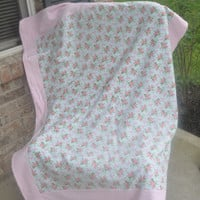ON SALE Pink Ribbon blanket, Chemo Blanket, Breast Cancer Awareness.  Pink ribbon and rose Quilt. Ready to ship.