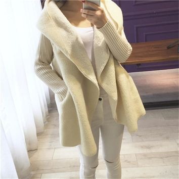 Shearling Style Sweater Sleeve Hooded Cardigan Coat