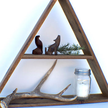Geometric Reclaimed Wood Decor - Large 2-Shelf Triangle - Dark Walnut