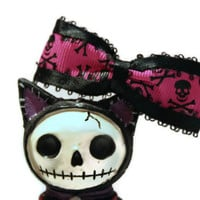 Skull Bow - Hot Pink, Black - Womens, Creepy and Cute, Alternative, Halloween Hair Bow, Punk Rock Clip, Gothic, Girly Skull