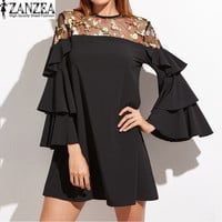 2017 ZANZEA WomenS Sexy Retro Embroidery Mesh Sheer Splice Flouncing Sleeve Casual Party Summer Mini Dress Vestido Plus Size