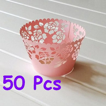 Stencil rose laser cut wrapper fancy flower wrap rose Cupcake Wrappers handmade cake wrapper lace pink wrapper wedding party wraps collars