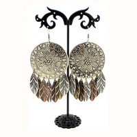 Ethnic Floral Engraved Feather Drop Earrings